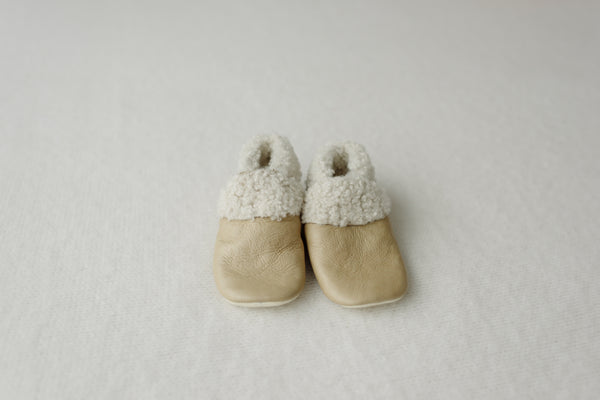 Dapper Dreamwear Leather Baby Booties 'Natural'