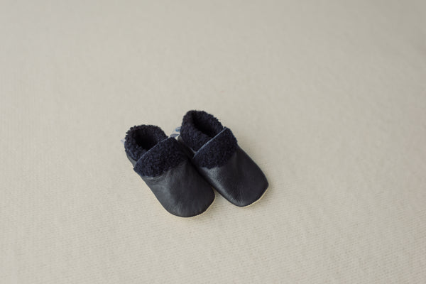 Dapper Dreamwear Leather Baby Slippers 'Navy'