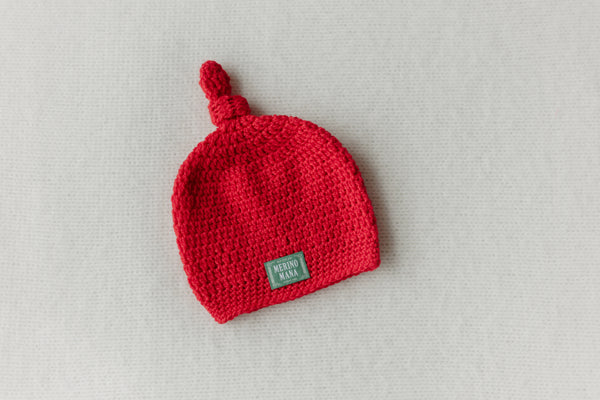 Cherry Red Crochet Merino Wool Baby Hat