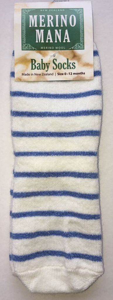 Merino Wool Baby Socks 'Blue and White Stripe' Made in New Zealand