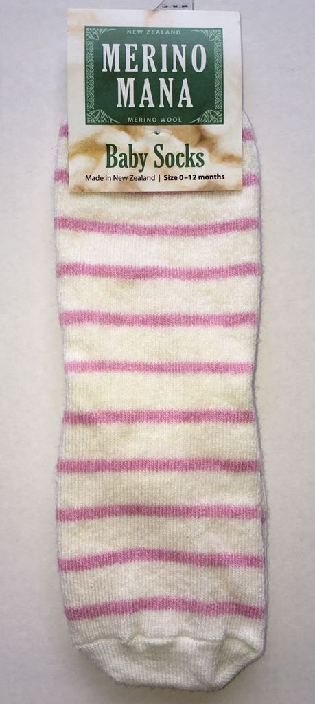 Merino Wool Baby Socks 'Pink Stripe' Made in New Zealand