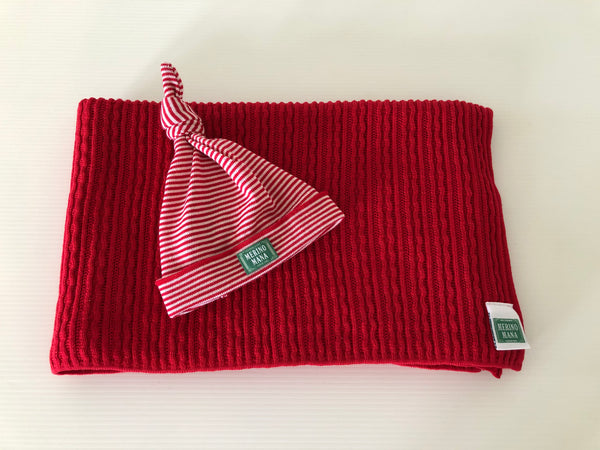 Cherry Red Merino Wool Baby Blanket and Hat Set