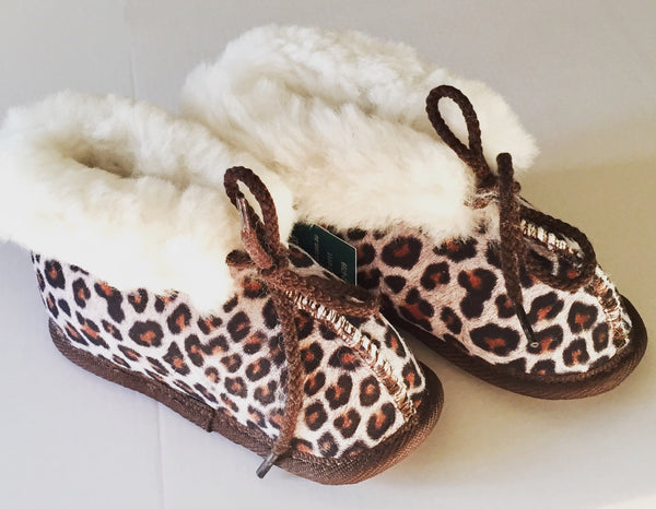 Sheepskin Toddler Booties - Leopard