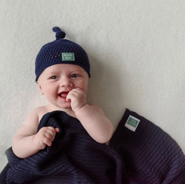 Navy Merino Blanket and Crochet hat