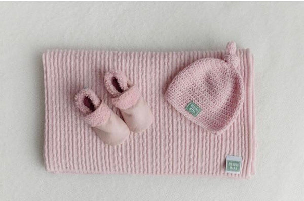 Merino Wool Blanket, Hat and Booties Prettiest Pink