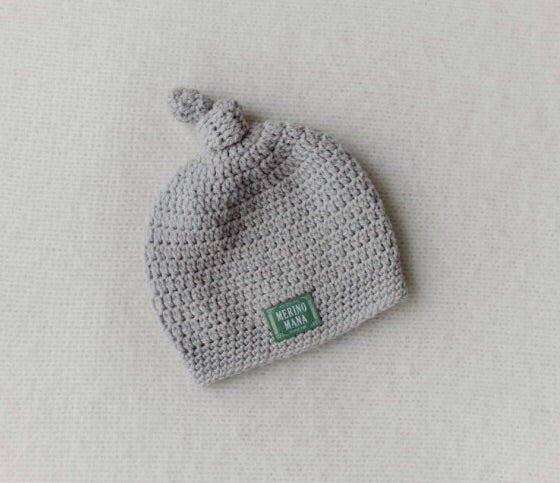 Merino Wool Crochet Hat - Silver Grey