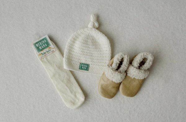 'Snow' Merino Wool Crochet Hat, Socks and Bootie Set