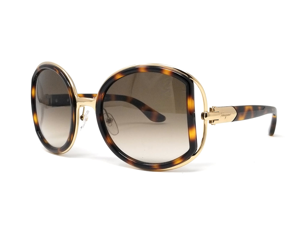 Salvatore Ferragamo Sunglasses SF719S 238 Dark Tortoise Round Female 52x22x130