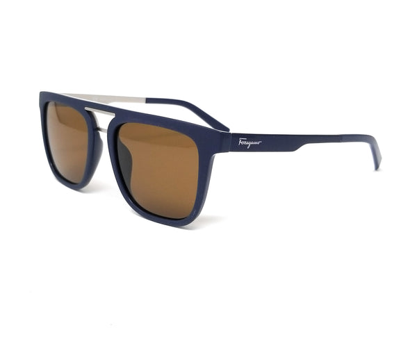 Salvatore Ferragamo Sunglasses SF879S 454 Matte Blue Rectangle Men's 53x19x150