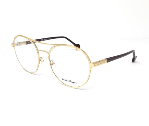 Salvatore Ferragamo Eyeglasses SF2174 742 Gold-Wine Round Women's 55x19x140
