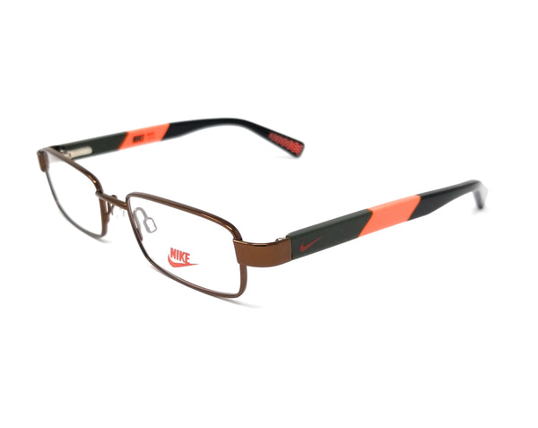 NIKE Eyeglasses 5573 218 Walnut-Total Orange Rectangle Children's 45x16x125