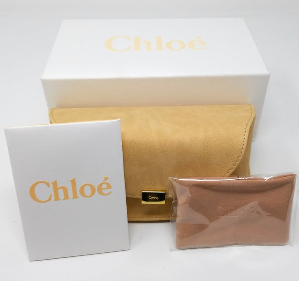 CHLOE Sunglasses CE126S 724 Gold-Transparent Peach Rectangle Women 62x18x135