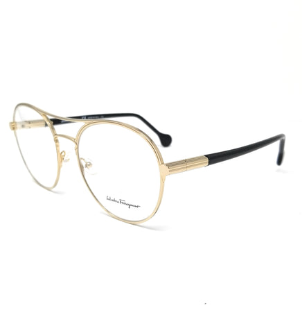 Salvatore Ferragamo Eyeglasses SF2174 733 Gold-Black Round Women's 55x19x140