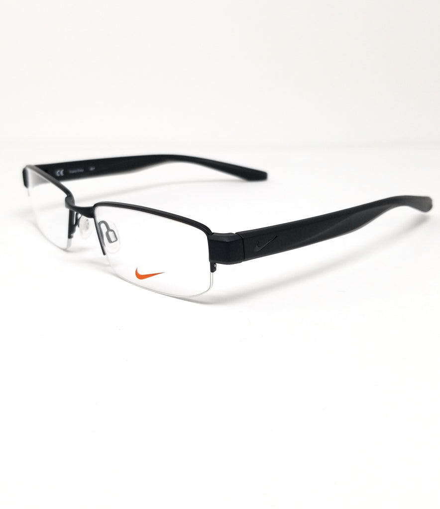 NIKE Eyeglasses 8170 002 Satin Black Modified Rectangle Men's 52x18x140
