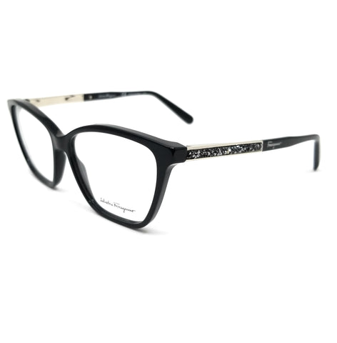 Salvatore Ferragamo Eyeglasses SF2804R 001 Black Rectangle Women 55x14x140