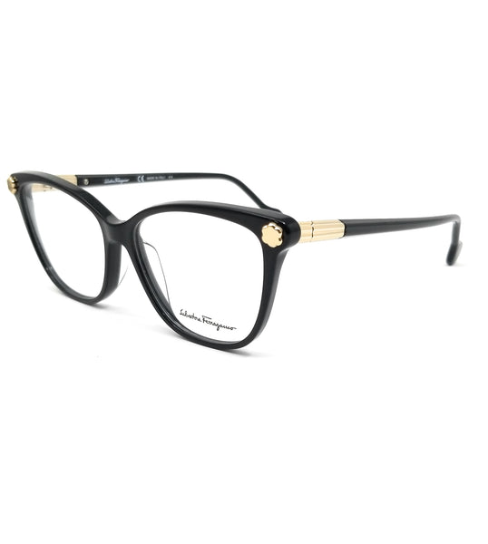 Salvatore Ferragamo Eyeglasses SF2838 001 Black Rectangle Women 53x14x140