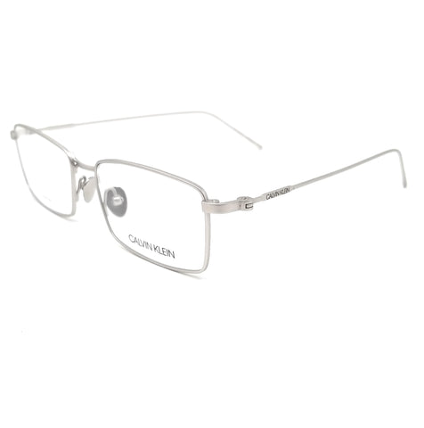 CALVIN KLEIN Eyeglasses CK18119 045 Satin Silver Rectangle Men 53x16x145