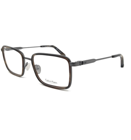 Calvin Klein Collection Eyeglasses CK8059 015 Satin Titanium-Brown Horn Men 54mm