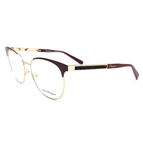 Salvatore Ferragamo Eyeglasses SF2166R 717 Shiny Gold-Burgundy Women 54x16x140