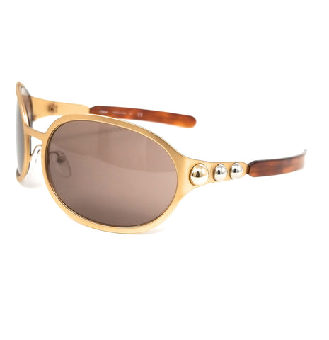CHLOE Sunglasses CE149S 743 Gold Oval Women 69x19x115