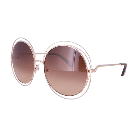CHLOE Sunglasses CE114SD 784 Rose Gold-Transparent Brown Round Women 62x18x135
