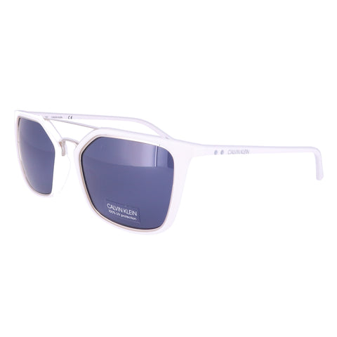 CALVIN KLEIN Sunglasses CK18532S 100 Matte White Rectangle Men 53x19x140