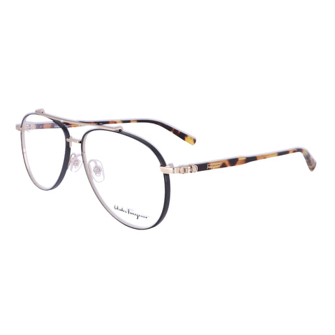 Salvatore Ferragamo Eyeglasses SF2184 733 Shiny Gold-Black Men 56x14x145