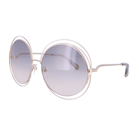 CHLOE Sunglasses CE114SD 734 Gold-Transparent Light Grey Round Women 62x18x135