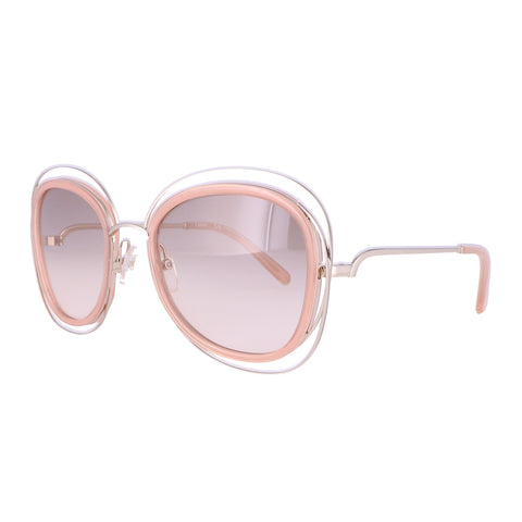 CHLOE Sunglasses CE123S 724 Gold-Transparent Peach Cat Eye Women 56x23x135