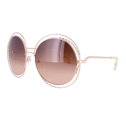 CHLOE Sunglasses CE114ST 743 Gold Round Women 58x18x135