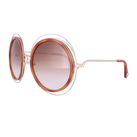CHLOE Sunglasses CE120SD 736 Gold-Blonde Havana Round Women 58x23x135
