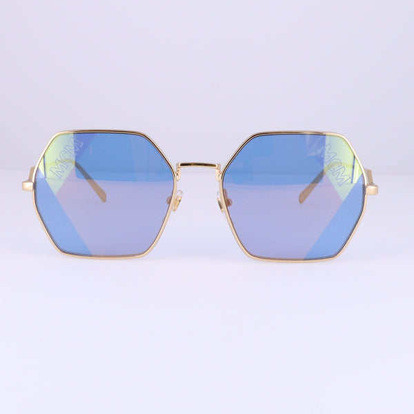 MCM Sunglasses MCM126S 740 Shiny Gold Rectangle Unisex 57x18x140