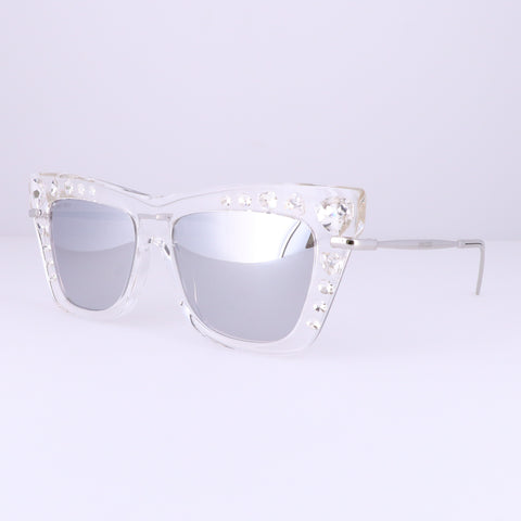 JIMMY CHOO Sunglasses BEE/S 0HKT CRYSTAL SILVER Women 55x16x145