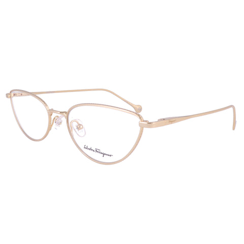 Salvatore Ferragamo Eyeglasses SF2188 717 Gold Oval Women 55x18x140