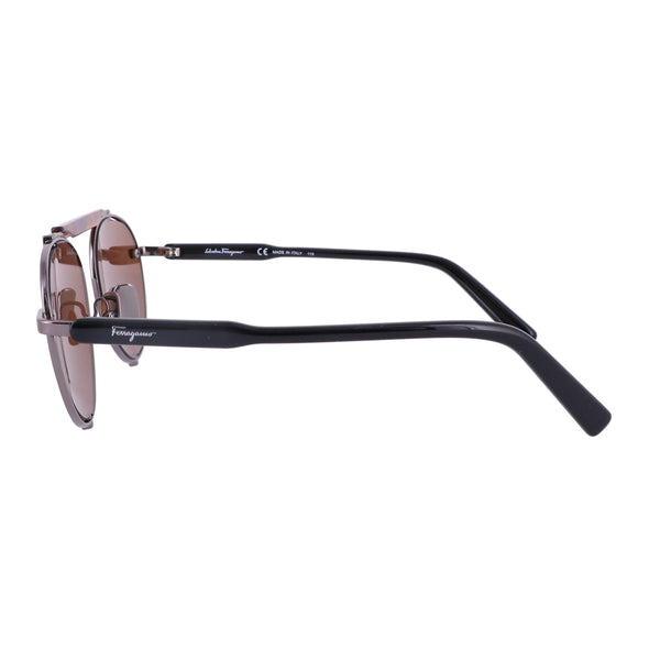 Salvatore Ferragamo Sunglasses SF197S 069 Dark Ruthenium Oval Men 52x17x140