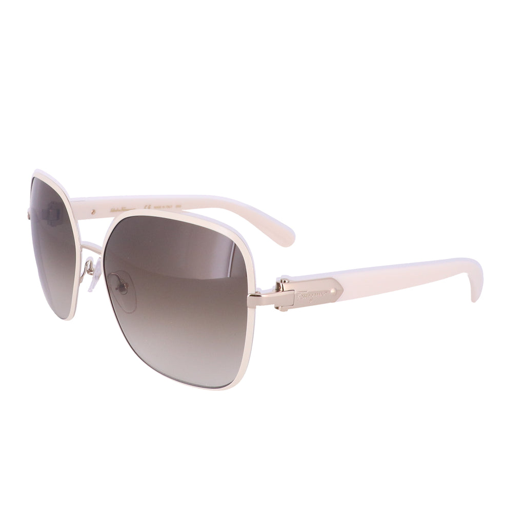 Salvatore Ferragamo Sunglasses SF150S 721 Light Gold-Ivory Rectangular