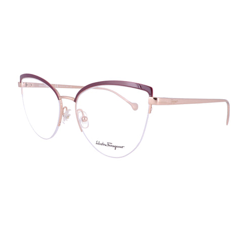 Salvatore Ferragamo Eyeglasses SF2175 779 Shiny Rose Gold-Wine Women 56x16x140