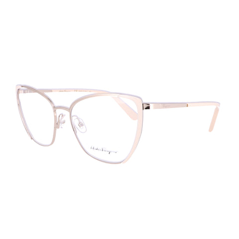Salvatore Ferragamo Eyeglasses SF2187 721 Gold-Ivory Rectangle Women 54x17x140