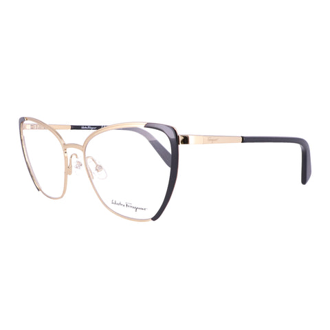 Salvatore Ferragamo Eyeglasses SF2187 786 Gold-Black Rectangle Women 54x17x140
