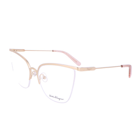 Salvatore Ferragamo Eyeglasses SF2197 717 Shiny Gold Rectangle Women 57x17x140