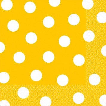 Yellow and White Dot Lunch Napkin