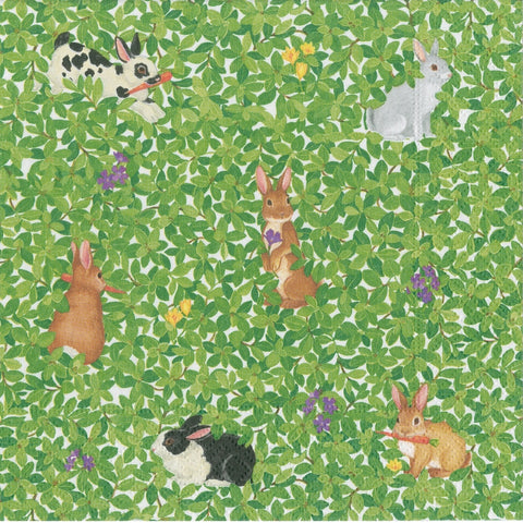 Green Bunnies and Boxwood Large Napkins