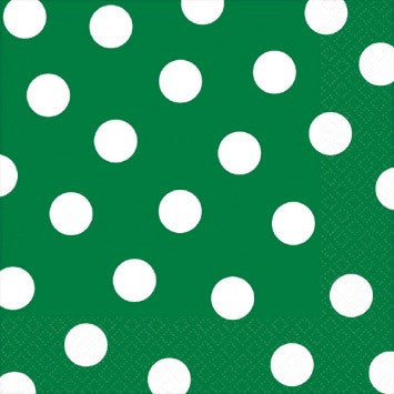 Green and White Dots Large Napkins