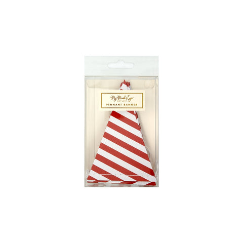 Red and White Striped Holiday Pennant Banner