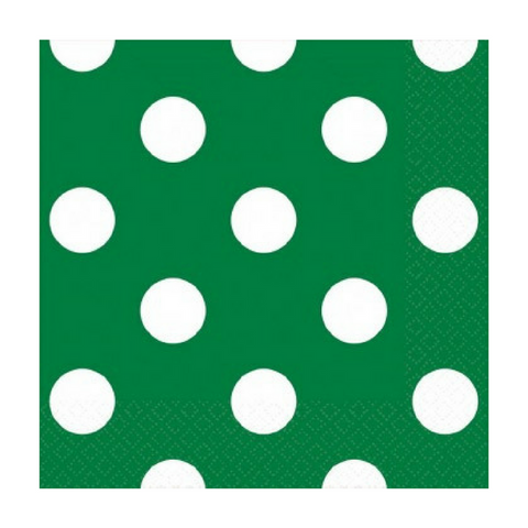 Green and White Dot Beverage Napkin