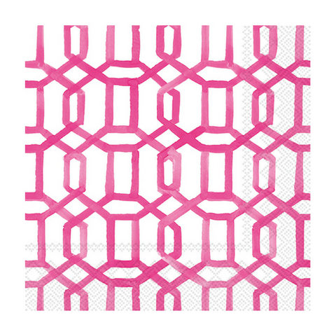 Hot Pink and White Trellis Small Napkins