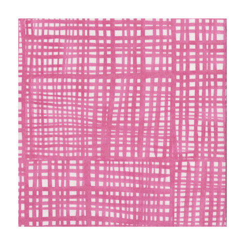 Hot Pink and White Raffine Small Napkins