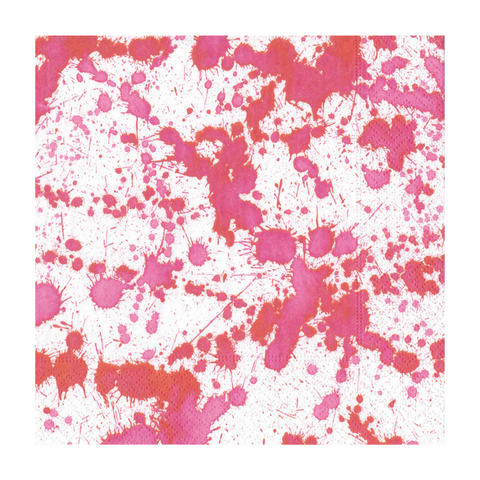 Hot Pink and White Splatter Small Napkins