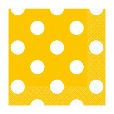 Yellow and White Dots Small Napkins