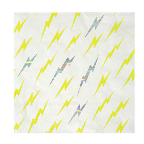 Yellow and Silver Zap! Small Napkins